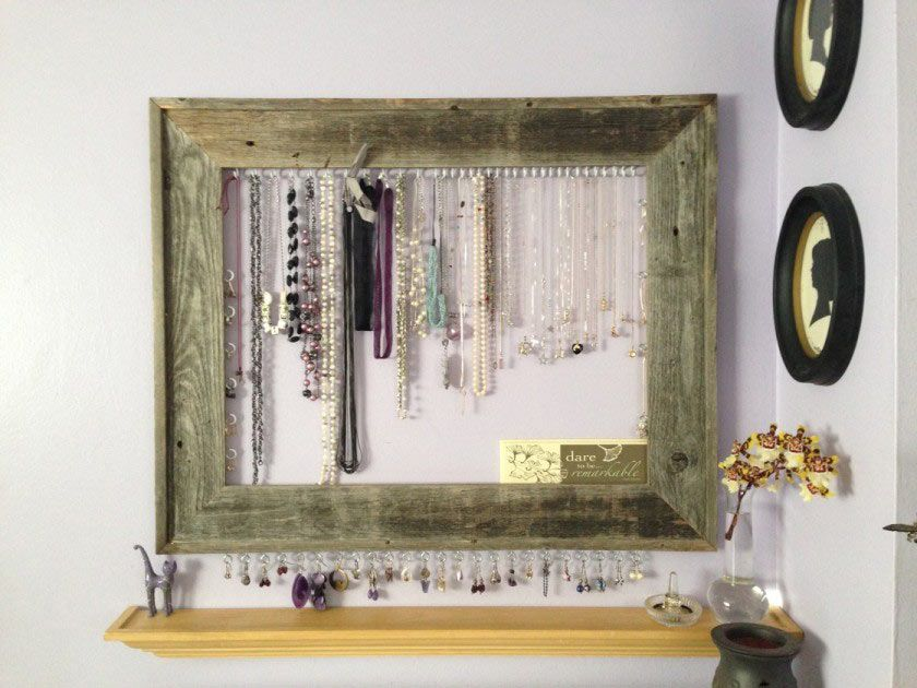 DIY barnwood picture frame jewelry organizer