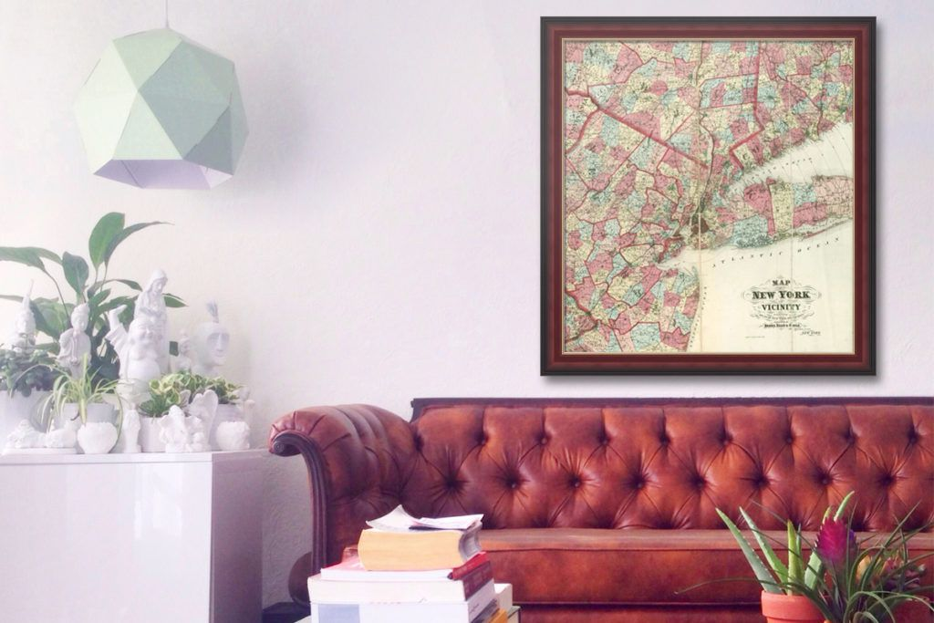 ny map in brown picture frame