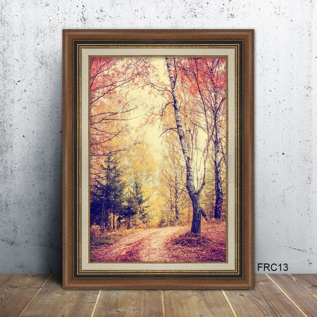fall trail in brown picture frame decor