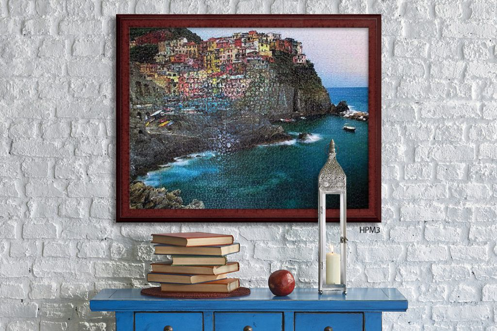 cinque terre puzzle in mahogany picture frame gift